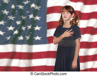 Little Girl Pledging Allegiance to the Flag - Patriotic...
