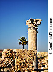 Ancient site in Cyprus - Stones and a pillar on a cultural...