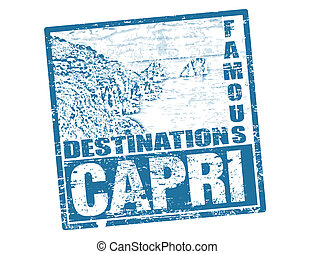 Capri stamp - Grunge rubber stamp with the famous Faraglioni...