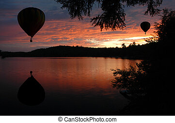 Hot-Air Balloons over Lake at Sunset Sunrise