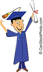 grad pointing at his cap and holding diploma in his hand
