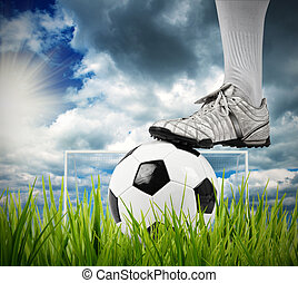 Soccer ball - Football player in a field