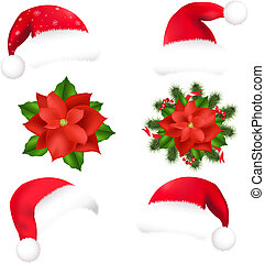 Santa Hat And Poinsettia - 4 Santa Hat And 2 Poinsettia,...