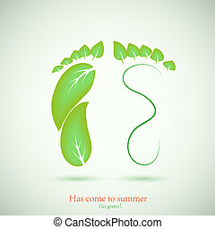 concept of footprint and green leaf. Vector illustration. Best choice