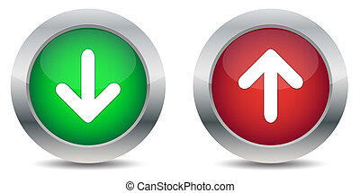 Download and upload buttons isolated on white background