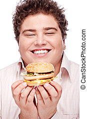 Smiled chubby and hamburger - Happy chubby holding a...