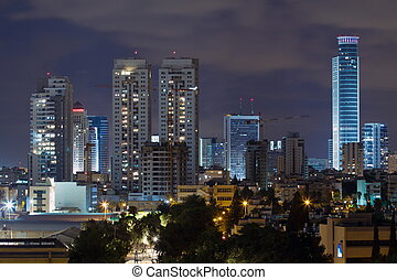 Ramat Gan city at night Central business district