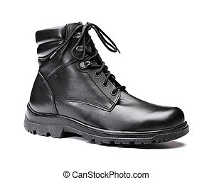 Winter footwear - A New men's insulated black leather winter...