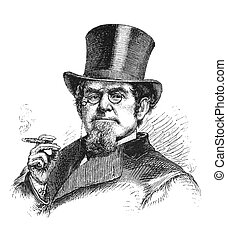 Tycoon - 19th century businessman Engraving from Scribners...