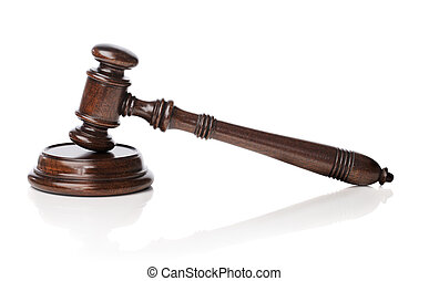 Gavel - Wooden mahogany gavel with sounding block on white...