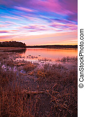 Pastel Sunrise at Lake Jacomo in Blue Springs, Missouri - A...