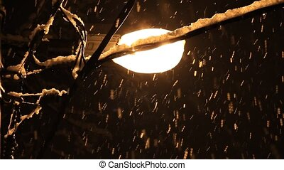 Snowfall in street lamp light - Beginning strong long...
