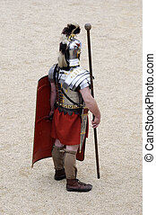 Roman Soldier - Roman Gladiator standing guard at a re...
