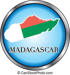 Madagascar Round Button - Vector Illustration for...