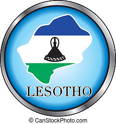 Lesotho Round Button - Vector Illustration for Lesotho,...