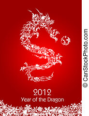 2012 Flying Chinese Snowflakes Pattern Dragon with Ball