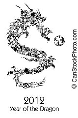 2012 Flying Chinese Snowflakes Pattern Dragon Clipart