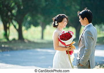 romantic bride and groom,each other seeing eyes