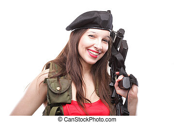 Girl holding Rifle islated on white background - Sexy women...