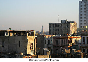 Centro Habana with the decaying houses in the morning light,...