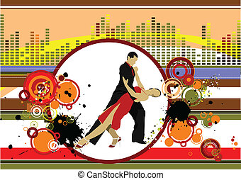 Grunge musical background with dancing pair. Vector...