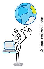 Businessman world & notebook
