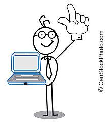 Businessman up hand & notebook