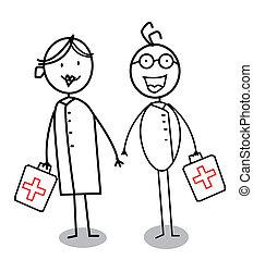 Happy doctor or nurse