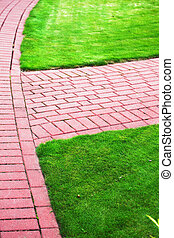 Garden stone path with grass, Brick Sidewalk - Garden stone...
