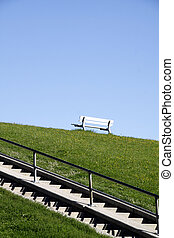 White Bench on a North Sea dyke