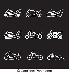 Motorcycles - vector icons - Motorcycles - set of isolated...