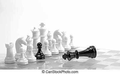 Treason or choice concept - Chess game White figures in a...