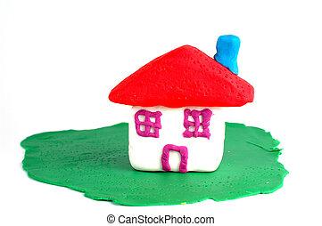 casa, pasto o césped, hecho, Plasticine