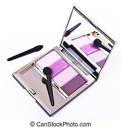 set of eyeshadows - eyeshadows set with brush on white...