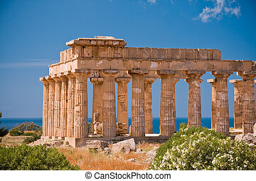 Greek temple in Selinunte - Ruins of greek temple,...