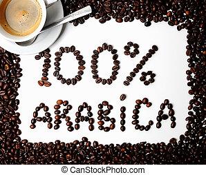 café, feijões, 100, %, arabica