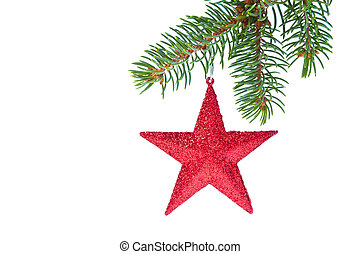 red christmas star hanging from tree isolated on white...