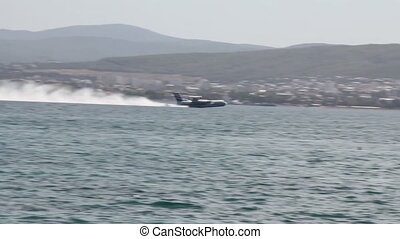 Hydroplane take off from harbour water surface