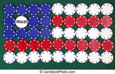 american poker - Poker chips forming the American flag and...