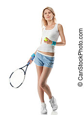 Portrait of young smiling woman with tennis racket isolated...