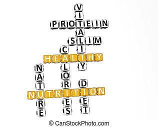 3D Nutrition Health Diet Crossword
