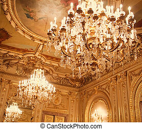 Chandeliers hanging under a ceiling. Interiors of the Polovtsov mansion - Architect's house, St.Petersburg, Russia