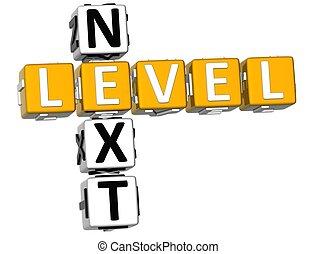 3D Next Level Crossword over white background