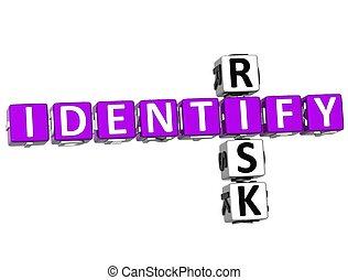3D Identify Risk Crossword over white background