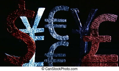 Currency symbols, euro - Currency symbols, red blue, dolly...