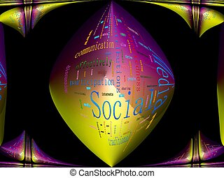 Social Media Related Text Design Element as word cloud