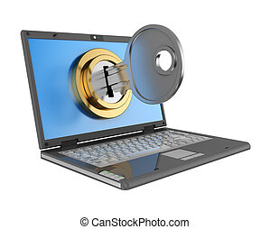 locked computer - 3d illustration of laptop computer locked...