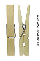 clothespins - Wooden clothespins are against a white...