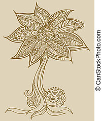 Henna doodle Tree vector Illustration art