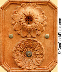 retro artistic doorbell made in terracotta from Tuscany,...